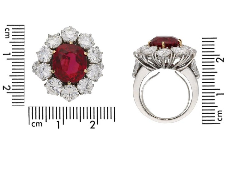 Women's Natural Unenhanced Siam Ruby and Diamond Cluster Ring, circa 1960 For Sale