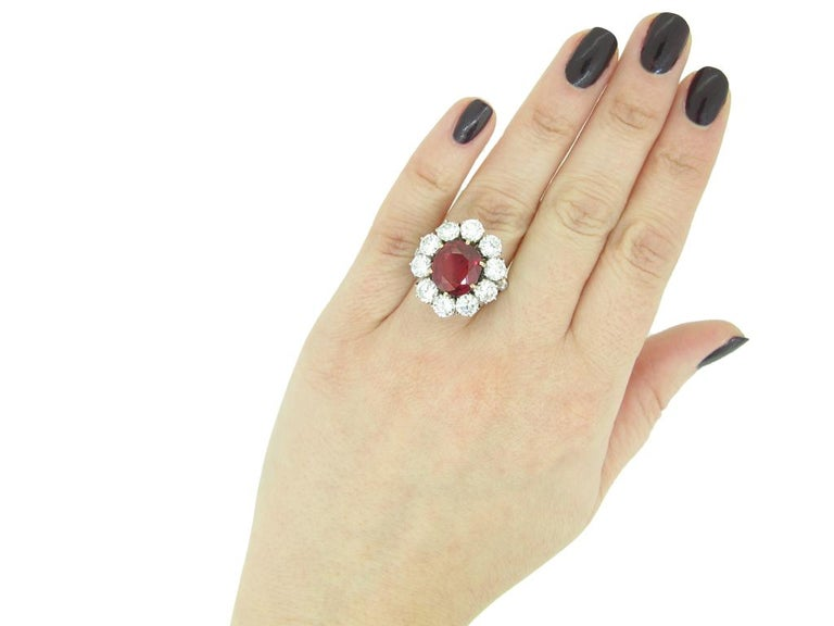 Natural Unenhanced Siam Ruby and Diamond Cluster Ring, circa 1960 For Sale 1