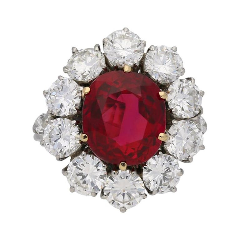 Natural Unenhanced Siam Ruby and Diamond Cluster Ring, circa 1960 For Sale