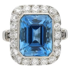 Natural Unenhanced Tiffany & Co. Aquamarine Diamond Cluster Ring