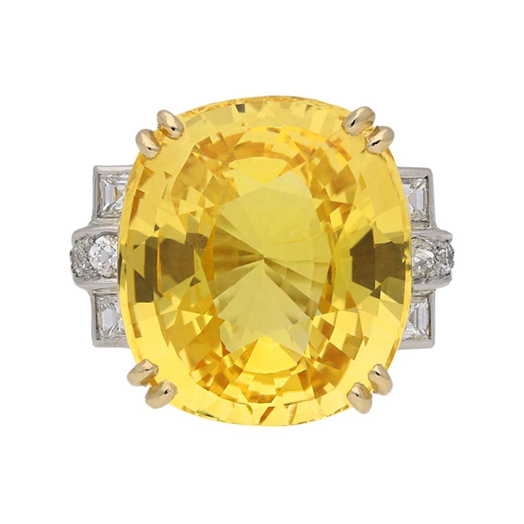 Natural Unenhanced Yellow Ceylon Sapphire and Diamond Ring, English, Circa 1950
