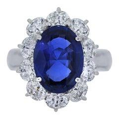 Natural Unheated Burma Sapphire Diamond Platinum Ring