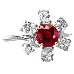 Natural Unheated Burmese Ruby and Diamond Platinum Ring by Leon Mege