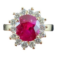 Natural Unheated Burmese Ruby Diamond Cluster Yellow Gold Modern Engagement Ring