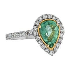 Natural Unheated Paraiba Pear Shape and Diamond Ring Platinum/18k YG GIA Cert