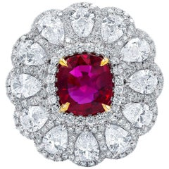 Natural Unheated Ruby and Diamond Ring