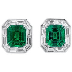 Natural Unheated Vivid Green 2.57 Carat Emerald Diamond 18 Karat Gold Earrings