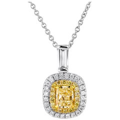 Natural Untreated 1.01 Carat Yellow Diamond Radiant Shape 18 Karat Gold Pendant
