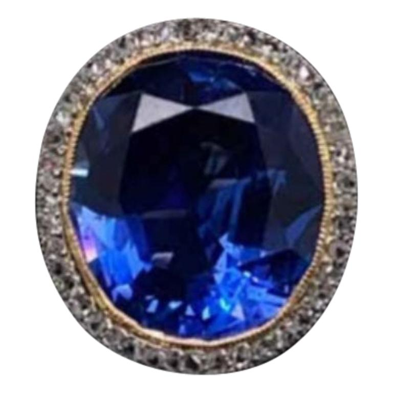 Natural Untreated 14.50 Carat Sapphire Diamond Ring Set in Platinum