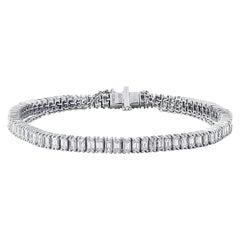 Natural Untreated 5.29 Carat White Emerald Shape Diamond Tennis Bracelet