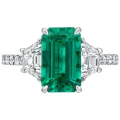 Natural Untreated Colombian Emerald Emerald Cut Diamond Platinum Cocktail Ring