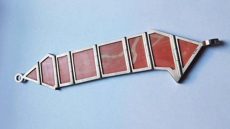 Natural 'Untreated' Coral Diamond White Gold XL Bracelet by Günter Krauss For Sale 6