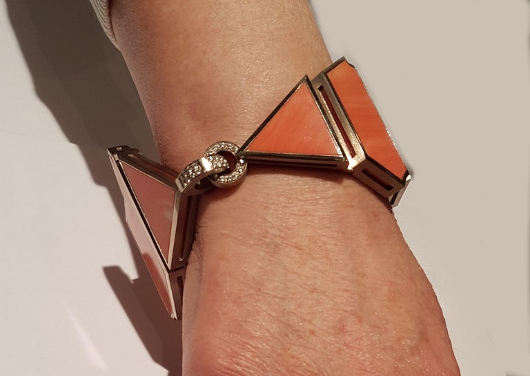 Contemporary Natural 'Untreated' Coral Diamond White Gold XL Bracelet by Günter Krauss For Sale