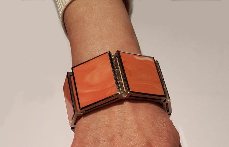 Natural 'Untreated' Coral Diamond White Gold XL Bracelet by Günter Krauss For Sale 3