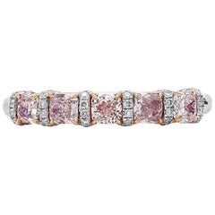 Natural Untreated Fancy Pink Cushion Shape White Diamond White Gold Ring