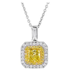 Natural Untreated Fancy Yellow Diamond 1.11 Carat Radiant Shape Necklace