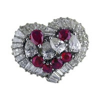 Natural Untreated Ruby Diamond Heart Cluster Ring, 1975