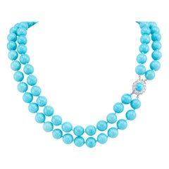 Natural Untreated Sleeping Beauty Turquoise Diamond Platinum Bead Necklace