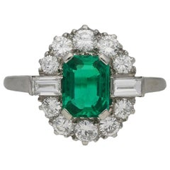 Natural Vintage Colombian Emerald and Diamond Cluster Ring, circa 1950