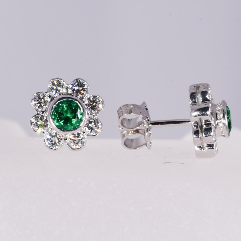 Modern Natural Vivid Green Emerald .46 Carat and .75 Carat Diamond 18K W/G Earrings For Sale