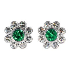 Natural Vivid Green Emerald .46 Carat and .75 Carat Diamond 18K W/G Earrings