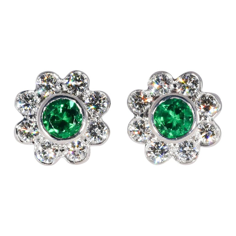 Natural Vivid Green Emerald .46 Carat and .75 Carat Diamond 18K W/G Earrings For Sale