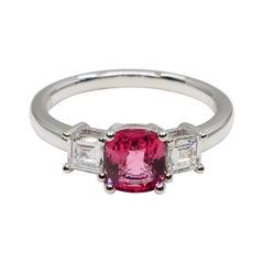 Natural Vivid Pink Spinel & Diamond 3 Stone Cocktail Ring, Glows