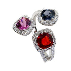 Natural Vivid Red, Pink, Blue Spinels & Diamond Cocktail Ring, Glows
