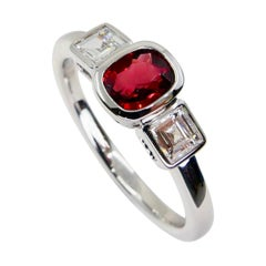 Natural Vivid Red Spinel & Diamond 3 Stone Cocktail Ring, Glows