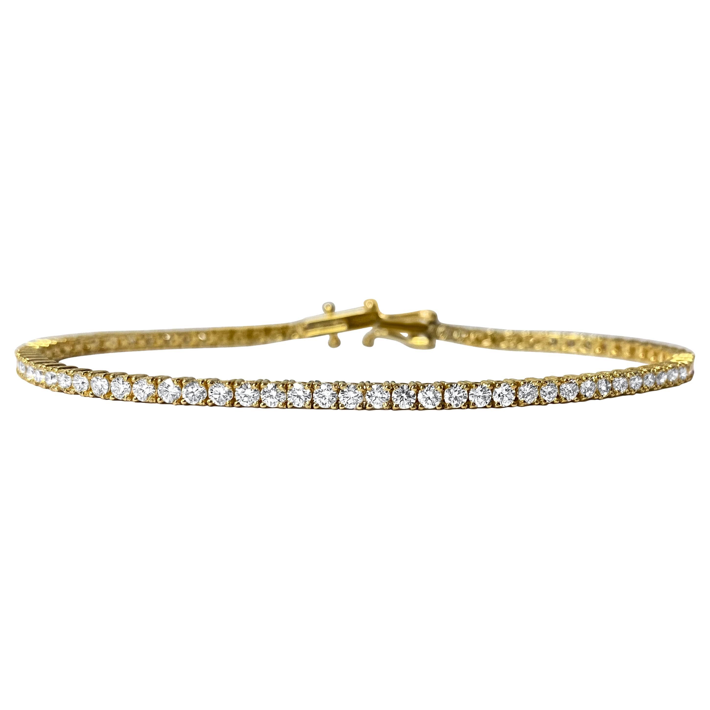 Natural VVS 4.00 Carat Diamond Tennis Bracelet in 10k Yellow Gold