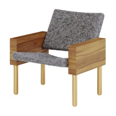 "Natural Walnut ""Block"" Armchair, Jonas Lutz"