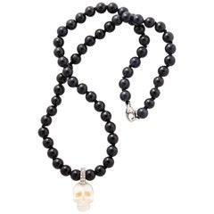 Natural White Coral Carved Skull Paved Diamonds On Onyx Beads 18k Gold Clasp