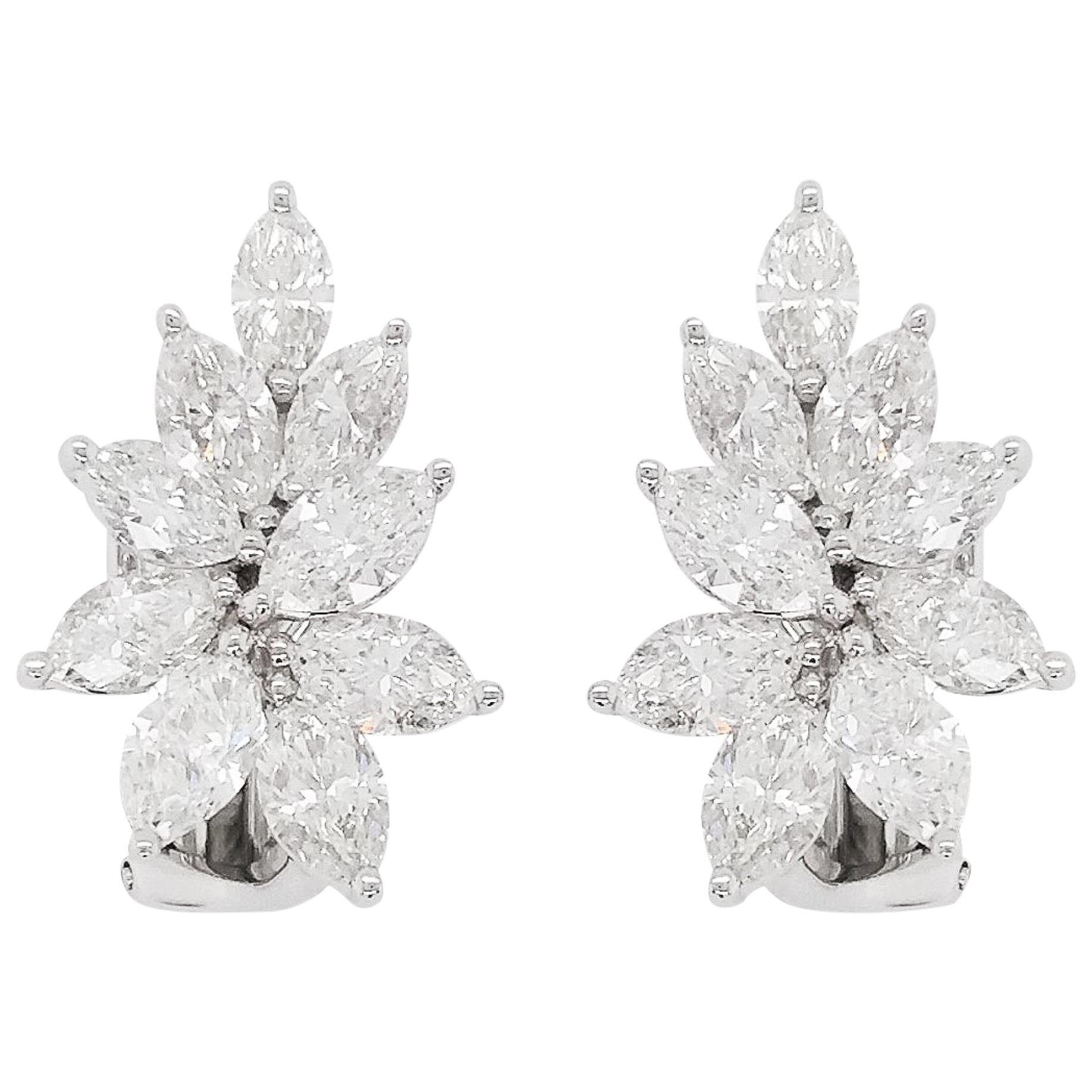 Natural White Diamonds in 18 Karat White Gold Earrings