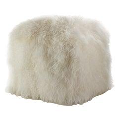 Natural White Fur Ottoman, Mongolian Sheepskin Pouffe