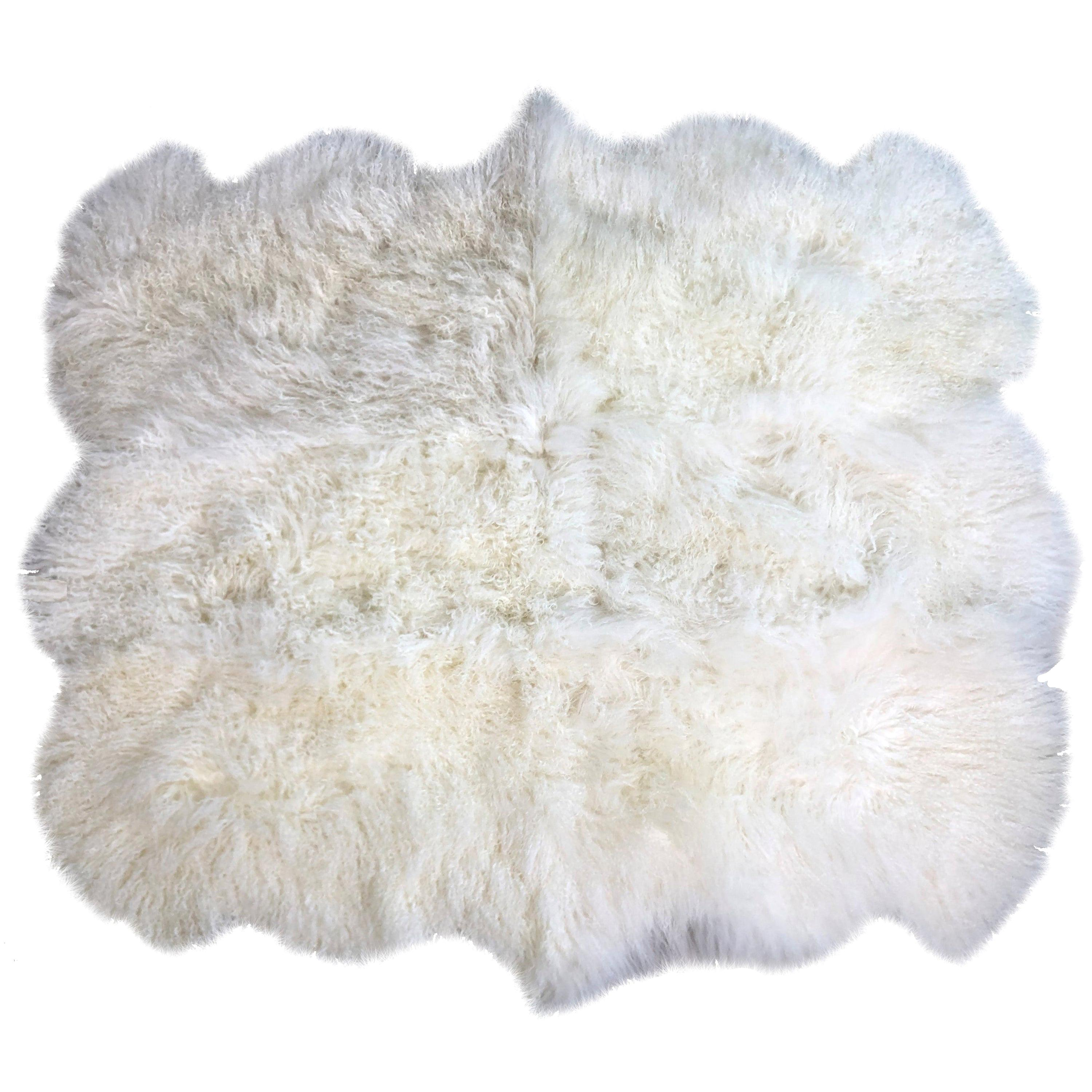 Natural White Mongolian Fur Rug, Mongolian Sheepskin Rug