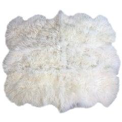 Natural White Mongolian Fur Rug  - Mongolian Sheepskin Rug