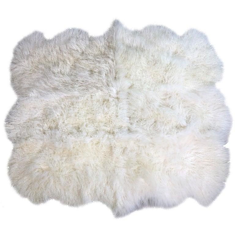 Natural White Mongolian Fur Rug