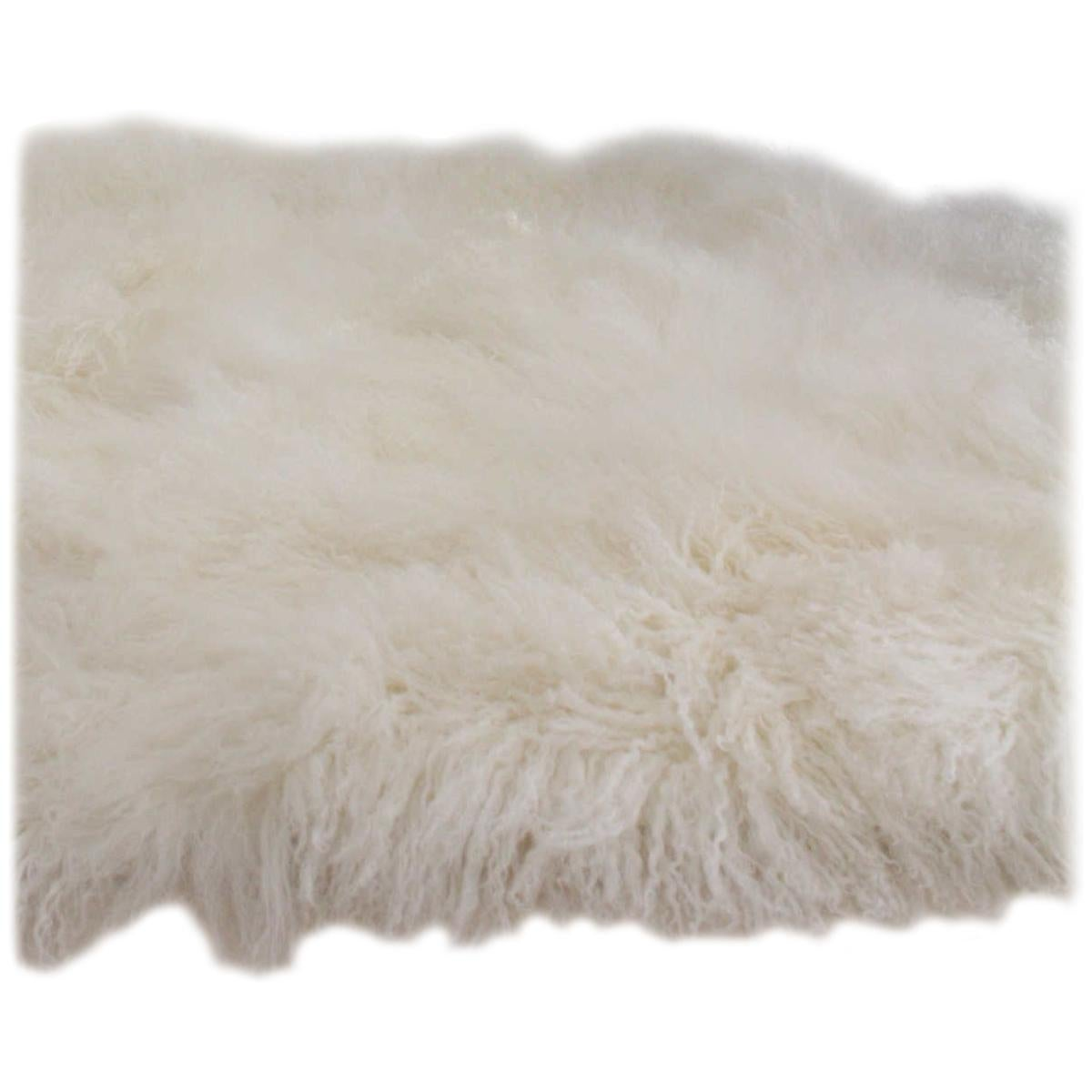 Natural White Mongolian Sheepskin Fur Rug Made in Australia