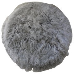 Natural White Mongolian Sheepskin Round Fur Rug Made in Australia