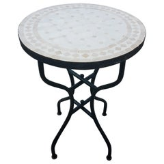 Natural / White Moroccan Mosaic Side Table, CR4