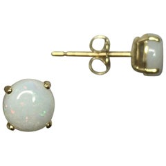 Natural White Opal Yellow Gold Round Cabochon Cut Earring Studs