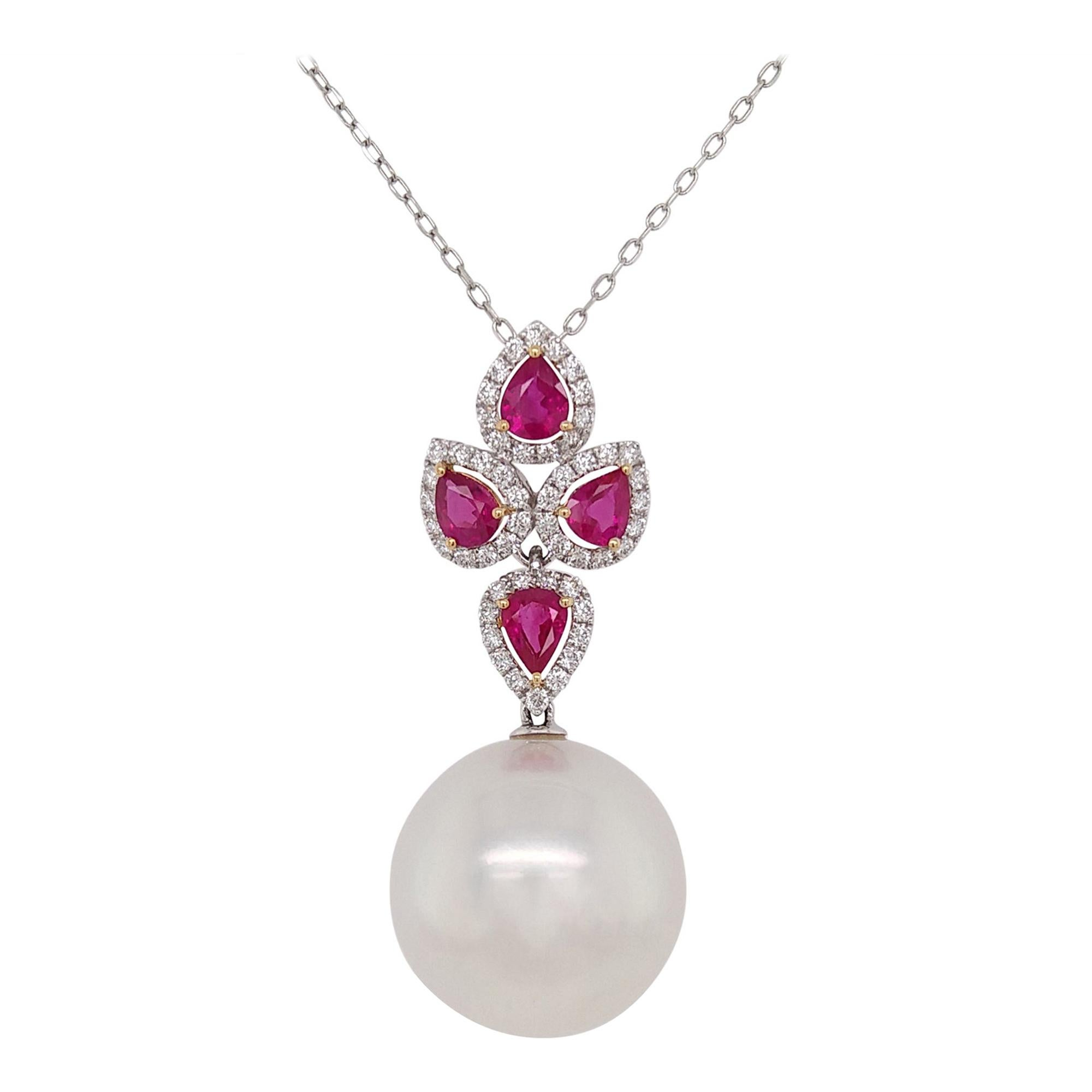 Natural White Pearl and Ruby and Diamond in 18k Gold Pendant with Chain