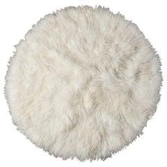 Natural White Round Fur Rug, Mongolian Fur