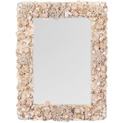 Natural White Shell and Coral Mirror