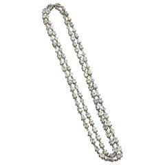 Natural White Stepcut Diamond Chain Necklace in 18 Karat Gold