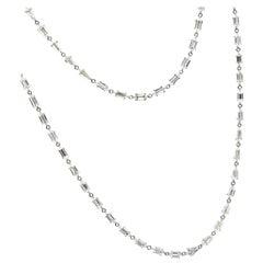 Natural White Stepcut Diamond Chain Necklace in 18 Karat Gold