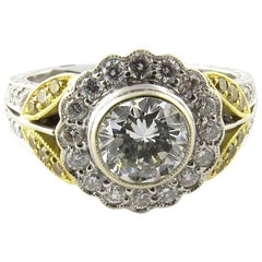 Natural White Yellow Diamond 18K White Gold Cluster Flower Ring 1.55cts IGI cert