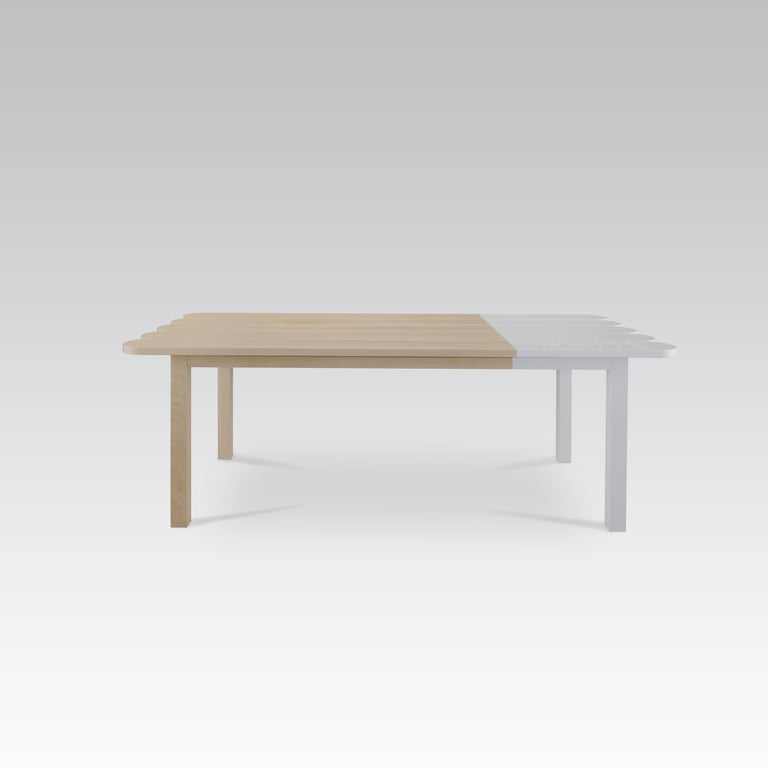 Carved Natural Wood Dining Table by Tiago Curioni For Sale