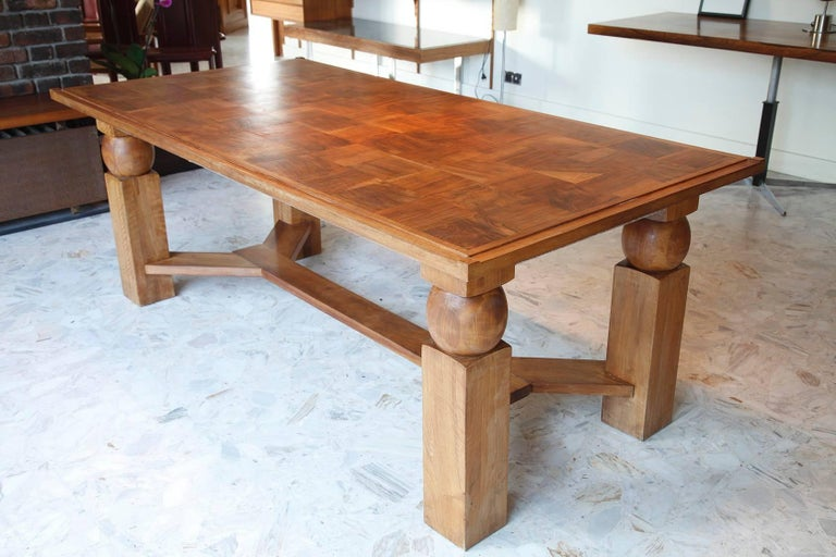 Mid-Century Modern Natural Wood Dining Table with 2 Extensions by Baptistin Spade For Sale