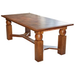 Natural Wood Dining Table with 2 Extensions by Baptistin Spade